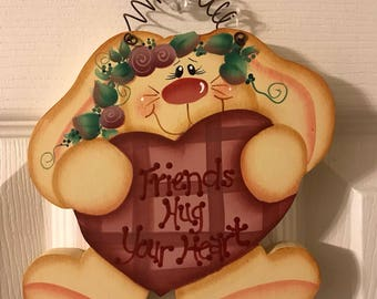 """Sweet """"Friends Hug Your Heart"""" Bunny, hand painted wood decoration"""