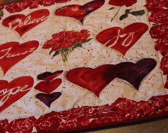 Red Roses Hope Hearts  23 X 21 Table Runner Topper