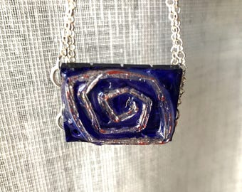 Perilous path - choker with hand painted resin pendant