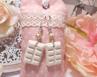 White chocolate polymer clay earrings