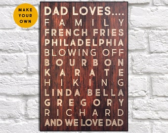 Personalised gift for Fathers day gift from Son Wood sign Custom gift for Men gift for Dad gift from Daughter panel effect wood wall art