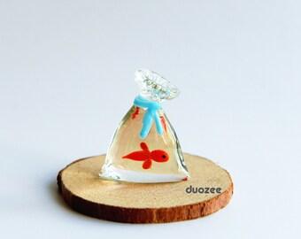 Handmade Lampwork Glass Miniature Goldfish Figurine, Goldfish in A Bag, Aquarium decor, Glass Goldfish Miniature, Murano Glass, Goldfish Art