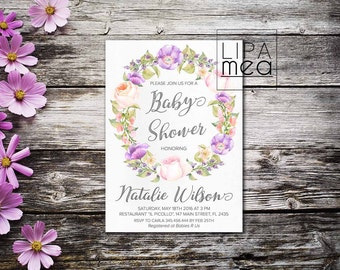 Floral Baby Shower Invitation Printable, Boho Baby Shower Invitation, Girl Baby Shower Invitation, Lilac Bohemian Baby Shower Invite Purple