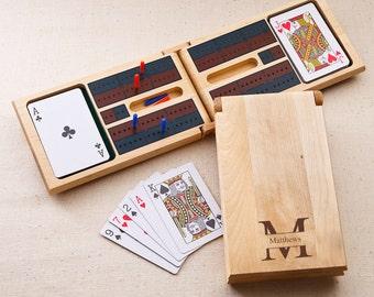 Monogrammed Cribbage Game - Monogrammed Wood Cribbage Set - Wood Cribbage Game - Gifts for Him - Gifts for Dad- GC1399 stamped