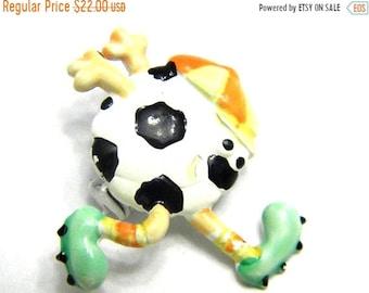 30% Off Sale Comical Sports Soccer Enamel JJ Jonette Pin Vintage