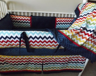 Baby boy bedding Crib sets Rainbow Navy Red  DEPOSIT Down payment only