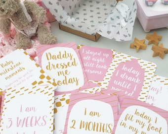 32 Alternative Baby Milestone Cards, funny milestone cards, funny baby moments, 0-12 months, baby shower gift, for new mum, baby photo props