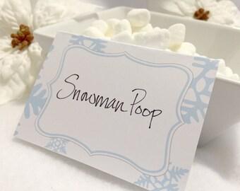 Printable Snowflake Food Label - Frozen Party - Snow Flake Label  - Frozen Party Food Tag