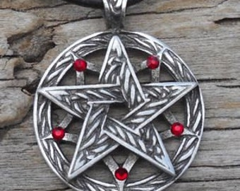 Pewter Double Pentagram Celtic Pagan Pentacle Pendant with Swarovski Crystal Red Garnet JANUARY Birthstone (56I)