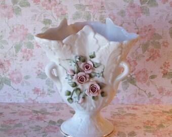 Vintage Rose Bud Lefton Hand Painted Pedestal Vase