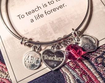 Teacher bangle, teachers gift, teacher jewelry, teacher, teacher gift, teacher appreciation, teacher bracelet