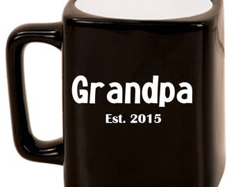 Grandfather Est. -- Laser Etched Ceramic Mug, Customized Gifts for Him