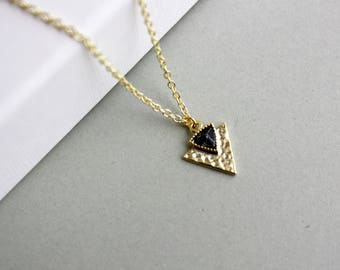 Marble arrow boho - gold-plated necklace