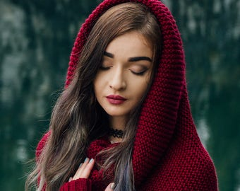 Knitted Snood scarf, Chunky Cowl Scarf, Shawl Hood, Hood scarf, Knit hood, Hooded scarf, Crochet cowl, Knit cowl, infinity scarf, neckwarmer