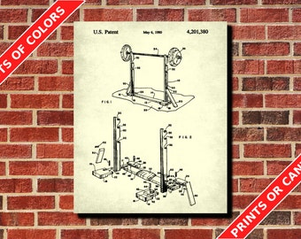 Weight Lifting Poster Barbell Weight Stand Patent Print Gym Patent Weights Blueprint Training Decor Gym Wall Art Fitness Poster
