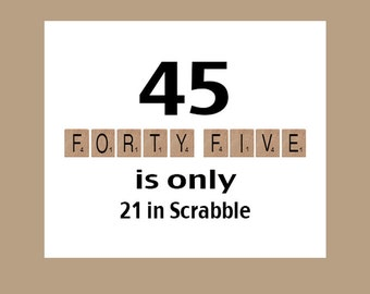 45th Birthday Card,  45 Birthday, Scrabble Birthday Card, 1973 Birthday Card