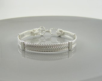 WSB-0166 Handmade .925 Sterling Silver Wire Wrapped Bangle Bracelet