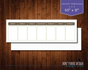 Printable Weekly Perpetual Calendar - Eternal Calendar - Cute Brown Green Daily Calendar - Instant Download