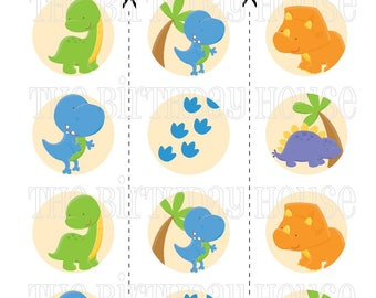 INSTANT DOWNLOAD - PRINTABLE Dino Friends Party Rounds - Assorted Dinosaur Cupcake Toppers by The Birthday House