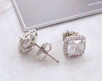 Cushion Cut Crystal Halo Earrings - Wedding Earrings - Crystal Earrings - Cushion Cut Crystal - bridesmaids earrings