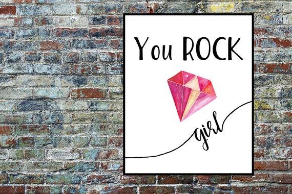 You ROCK Girl / Red Diamond Print / Feminist Girl Prints / Strong Girls Print / You Rock Print / Teen Girls Poster / Equal Rights / Feminism