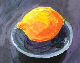 Art and collectibles, lemon still life, small original art, Meyer lemon, 5x5 inch painting, fine art, original art, modern impressionist