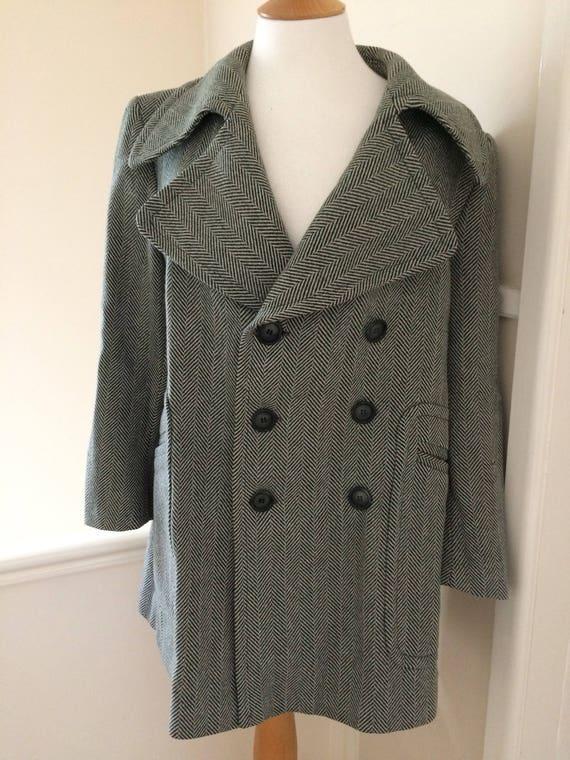 Men's 1960's Grey herringbone Mod pea coat Large (42) vAuP6M2M
