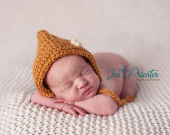 Baby Hat, Newborn Hat, Baby Bonnet, Newborn Baby Girl Hat, Baby Boy Hat, Newborn Photo Prop, Orange Hat
