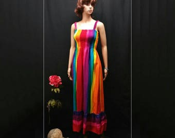 Rainbow maxi sundress, boho gypsy elastic straps ruffle maxi dress, rainbow dress women, gay color dress, Pride festival dress, gay pride