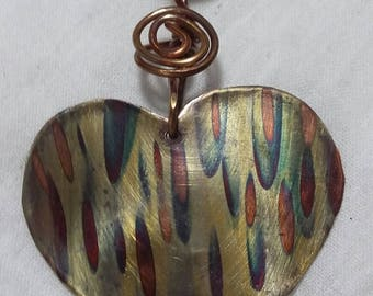 Flame Painted Copper Heart