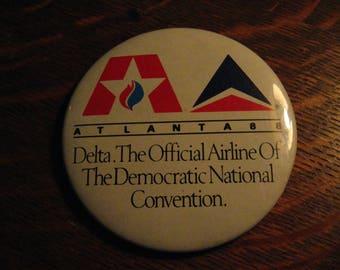 Delta Airlines Lapel Pin - Vintage 1988 Democratic National Convention Atlanta