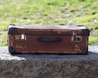 Vintage suitcase, Antique suitcase, Old suitcase, Brown suitcase, Vintage decoration, Old travel case, Suitcase, Retro travel luggage