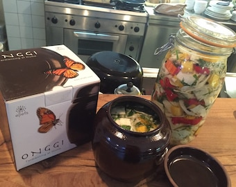 Fermenting at home with eleifs Onggi | Kimchi, sauerkraut, soysauce, vinegar etc. | Eco-friendly & Breahting | fermentation crock (1L)