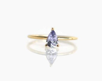 pear engagement ring,  lavender spinel ring, promise ring, pear ring, pear cut engagement ring, blue spinel ring, pear shaped ring