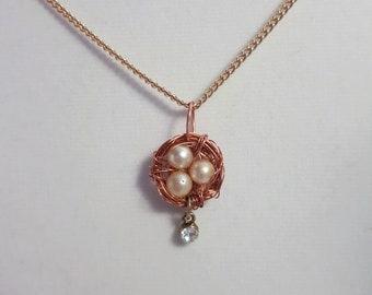Birds nest pendant / Necklace / Mothers day / Easter / Birds nest / Minimalist
