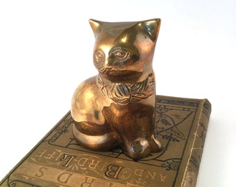 vintage brass cat figurine, patina and slight tarnish can be polished to high glossy gold Seated kitty of brass Cat lover cat collector