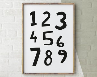 Nursery Art, Numbers Printable, Black and White Numbers Print, Nursery Poster