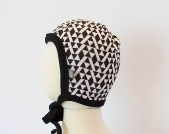 black and white aztec beanie. Baby hat with ties. Baby pilot hat. NB-18 month modern cap