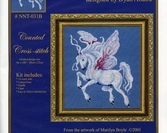 FANTASY CROSS STITCH Kit; fairy horse, design by Dyan Allaire, from my own artwork, complete kit, unopened