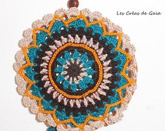 "Mandala autumn dream catcher • wall decor textile, small size • Crochet, lace, satin and beads • symbolism ""Fairy"""