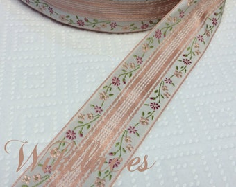"Pink & Peach on White - French Silk Embroidered Jacquard Ribbon - 1.5"" Wide, Vintage"