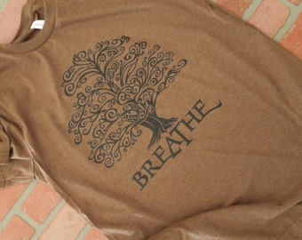 Arbor Day Shirt, Breathe Tree Black Graphic Crew-Neck T-Shirt, Environmental T-Shirt, Save the Planet, Earth Day, Tree Hugger