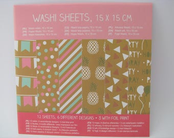 12 Washi sheets - 15 cm - self-adhesive paper - bullet journal - planner - home decor - handmade cards - foil wahsi tape - 6 desgins - tape