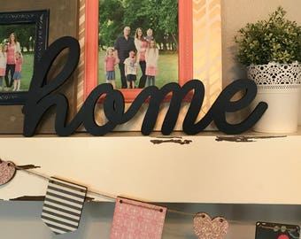 Home Wood Word Cutout, Laser Cut Word, Home Sign Wall Decor, Scroll Cut Word, Cursive Script Wooden Word