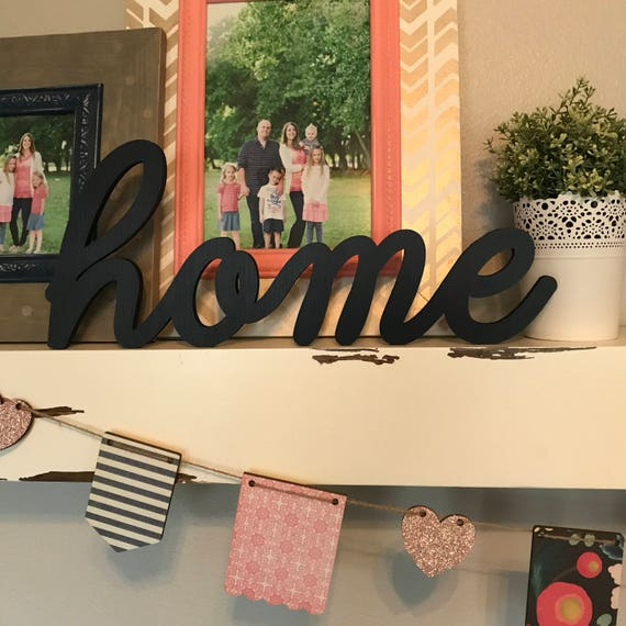 Home Wood Word Cutout Laser Cut Word Home Sign Wall Decor