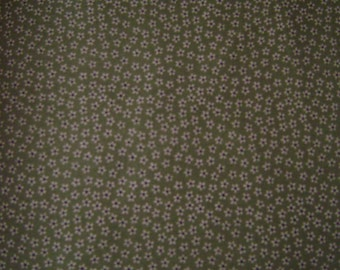 Tan Tiny Flowers Sage Green Cotton Fabric by the yard
