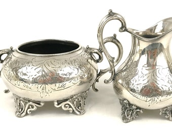 Antique Silver Plated Sugar Bowl and Creamer Set, Fruit Set, Afternoon Tea, E Stacey, Aesthetic Floral, Victorian Quality, Unique Set, Old