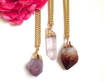amethyst necklace - clear quartz pendant - brown quartz stone necklace - layering boho-chic necklaces - gold dipped jewelry - gift for her