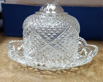 Vintage Avon Domed Lid Crystal Clear Glass Covered Butter/Cheese Dish, Fostoria Glass