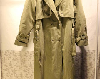 Vintage Military Trench Coat - Army Green - Sz M - Authentic Vintage